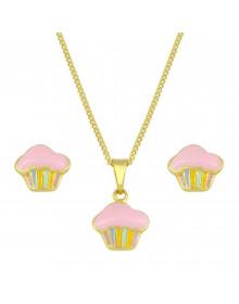 Gargantilha com Brinco Infantil Cupcake Folheados a Ouros e Gargantilha Infantil Folheados a Ouro - Conjunto de Semi Joias