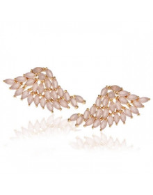 brincos ear cuff asas quartzo rosa - Brincos da Moda