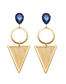 Brincos Longos com Pedra Azul Cristal SEMIJOIA