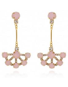 Brincos de Pedras Rosa Folheados a Ouro 18k - Brincos da Moda