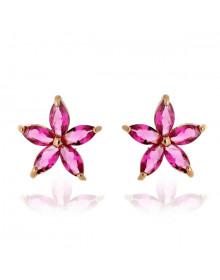 Brincos Pequenos com Pedras Rosas Pink Banhados a Ouro 18k