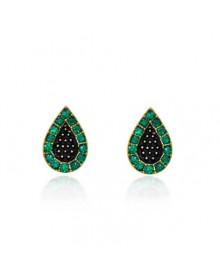 Brincos Pequenos de Gotinhas Verdes e Pretas Banhados a Ouro 18k - Brincos da Moda