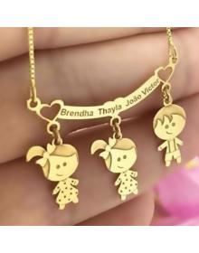Colar 3 Três Filhos com Nomes Folheados a Ouro - Joias Personalizadas