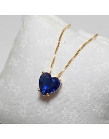 Colar com Pingente de Coração Azul Folheado a Ouro 18k - Colares Femininos