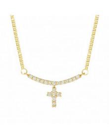 Colar Feminino com Crucifixo Banhado a Ouro 18k - Colares Feminino