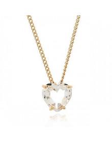 Colar de Coração com Cristal Folheado a Ouro 10 milésimos