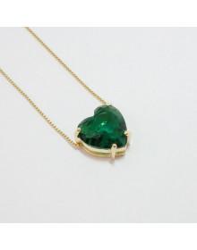Colar de Coração Verde Esmeralda Folheado a Ouro Semijoia
