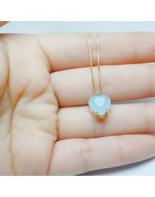 Colar de Coração Azul Claro Folheado a Ouro 18k - Semi Joias de Luxo