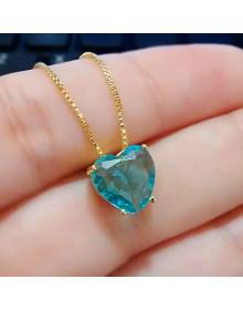 Colar de Coração Azul Claro Folheado a Ouro - Semi Joias