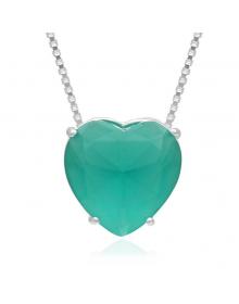 Colar de Coração Verde Prata Pura  - Colares Femininos