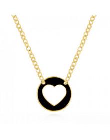 Colar de Coração Vazado Preto Folheado a Ouro 18k - Colares Femininos