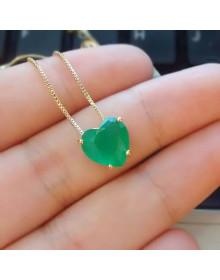 Colar de Coração Verde - Semi Joias de Luxo