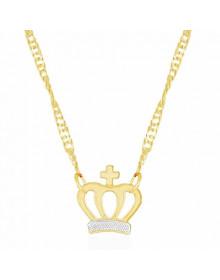 Colar de Coroa Banhado a Ouro 18k - Colares Femininos