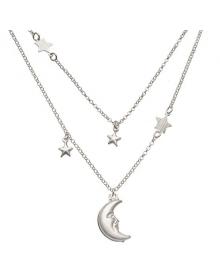Colar de Prata Feminino Duplo Lua e Estrelas - Colares da Moda