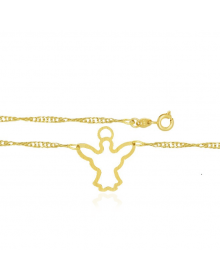 Colar feminino com pingente de anjo da guarda semijoia