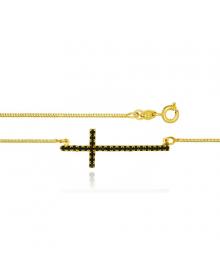 Colar Feminino com Pingente Crucifixo Preto - Semi Joias de Luxo
