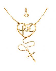 Colar Coração e Crucifixo Folheado a Ouro 18k - Semi Joias de Luxo