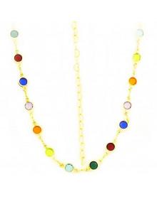 Colar Inspiração Tiffany com Pedras Coloridas Banhado a Ouro 18k - Colares Femininos