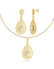 Colar Feminino com Pingente e Brincos de Gotas de Zircônias Folheados a Ouro 18k - Semijóias