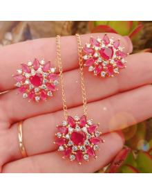 Colar Feminino com Brincos de Pedras Rosa e Zircônias - Semi Joias de Luxo