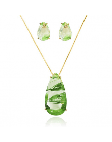 Colar Feminino com Brincos Pequenos com Pedras Verdes - Semi Joias de Luxo