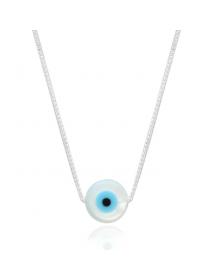 Gargantilha de Prata Pura Olhos Grego em Madreperola - Colares Femininos