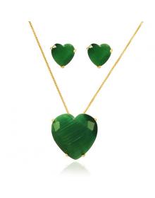 Colar da Moda com Brincos da Moda com Pedras Verdes Semijoias