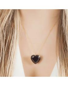 Colar coração com brincos pequenos de coração semi joias