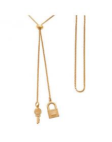 Colar Feminino Gravatinha com Cadeado e Chave Folheado a Ouro 18k
