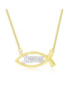 Colar com Pingente Jesus Folheado a Ouro 18k - Colares Femininos Semi Joias