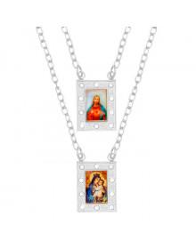 Escapulario de Prata Feminino com Cristais e Imagem de Nossa Senhora do Carmo e Jesus