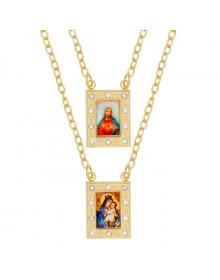 Escapulário Feminino com Cristais e Imagem de Nossa Senhora do Carmo e Jesus