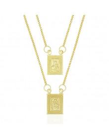 Mini Escapulário Feminino Banhado a Ouro 18k - Jesus e Nossa Senhora