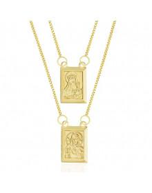 Escapulário Banhado a Ouro 18k - Nossa Senhora do Carmo e Jesus