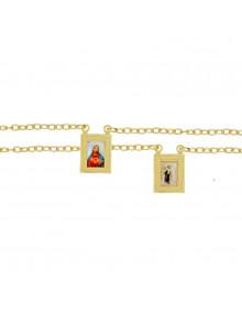 Escapulário Feminino Colorido Banhado a Ouro 18k