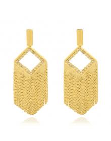 Maxi Brincos de Franjas Grandes Banhados a Ouro 18k - Brincos de Festa da Moda