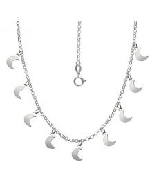 Maxi Colar de Prata Feminino com Pingentes de Lua - Colares da Moda