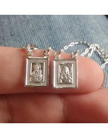 Escapulário de Prata Feminino e Masculino - Jesus e Nossa Senhora do Carmo