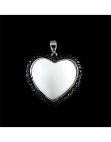 Pingente Coração com Agata Branca e Zirconias Negras i2
