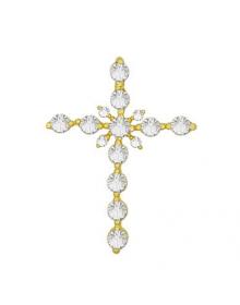 pingente crucifixo zircônias banhado a ouro - semi joias de luxo