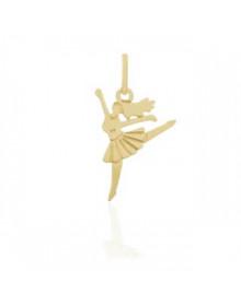 Pingente de Bailarina Folheado a Ouro Semijoia