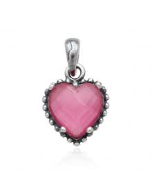 Pingente de Prata com Coração Rosa