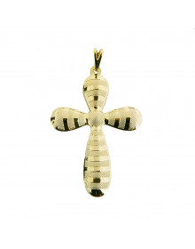 pingente de cruz  arredondada folheada a ouro