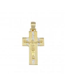 pingente masculino crucifixo ouro e rodio