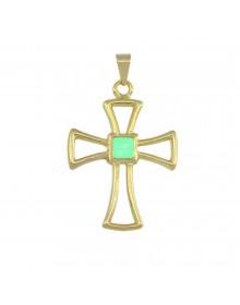 Pingente de Cruz Verde - Semi Joias de Luxo