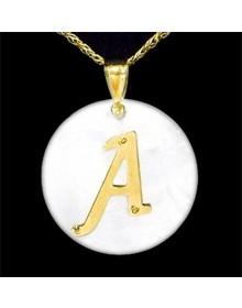 Pingente de Letra de Ouro com Madrepérola i1