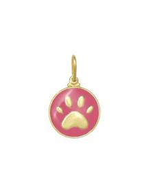 pingente pata de cachorro rosa folheado a ouro - semi joias de luxo