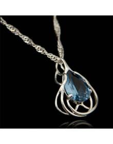 Pingente de Prata Gota Azul Indiana