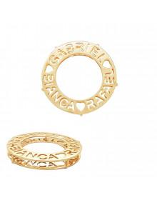 Colar com Pingente de Mandala com Três Nomes Banhado a Ouro - Joias Personalizadas