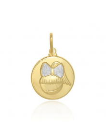 Pingente Menina Redondo Banhado a Ouro 18k - Pingente para Pai de Menina
